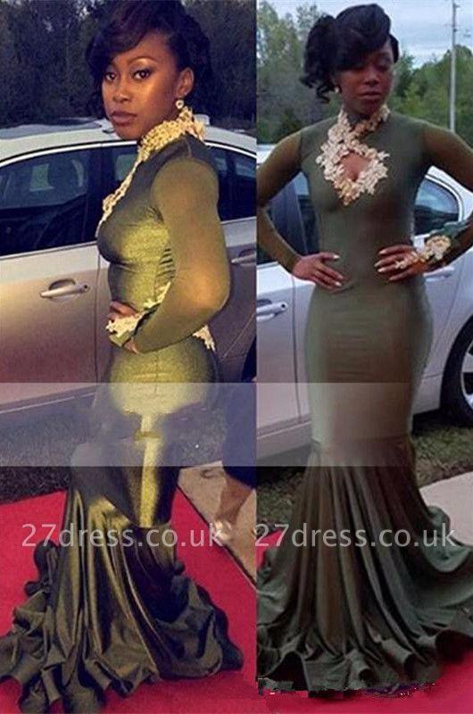 Elegant Long Sleeve Keyhole Neckline Prom Dress UK | Lace Prom Dress UK BK0
