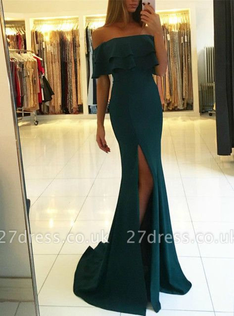 Green off the shoulder prom Dress UK with split,green evening gowns
