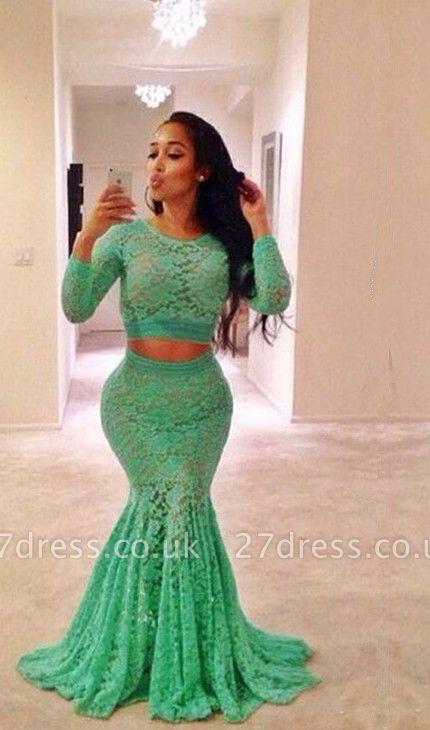 Elegant Lace Jewel Mermaid Prom Dress UK Two Piece Long Sleeve BA4220
