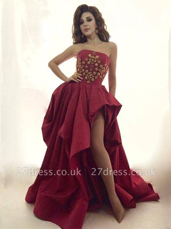 Gorgeous Strapless Evening Dress UK Long Gold Beads Long Party Dress UK With Split BA8044