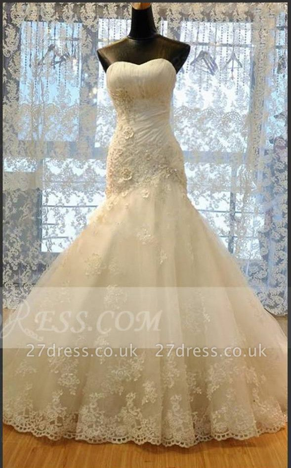 Modest Sweetheart Lace Appliques Wedding Dresses UK Sexy Mermaid Lace-Up Bridal Gowns