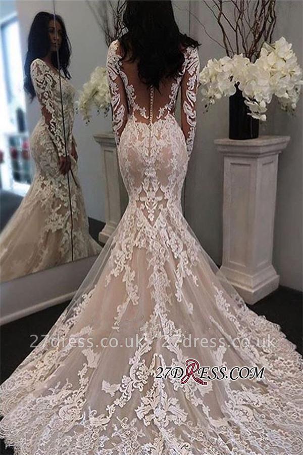 Lace Sexy Mermaid Sheer-Tulle Long-Sleeve Gorgeous Retro Illusion Wedding Dress JJ0155