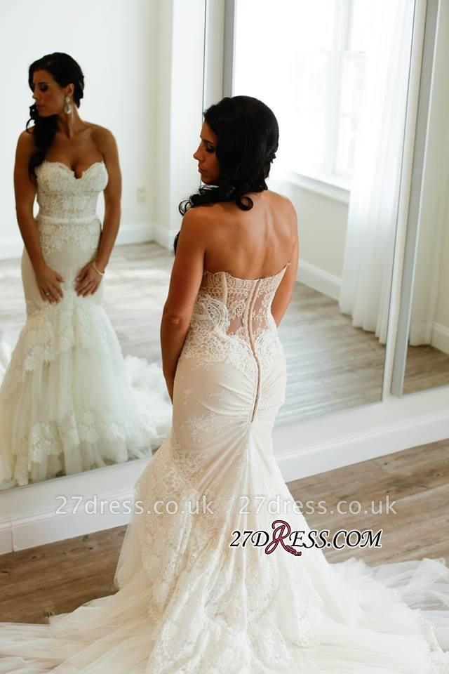 Appliques Tulle Tiered Elegant Buttons Sweetheart Sexy Mermaid Wedding Dress