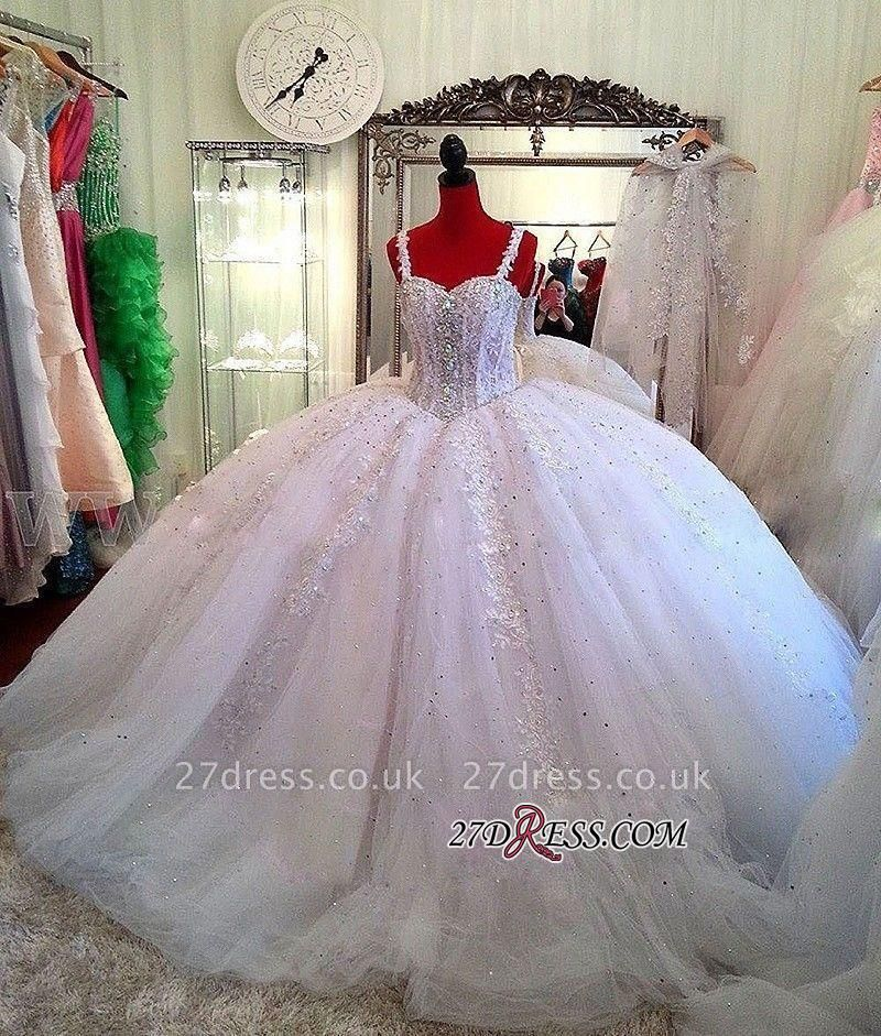 Luxurious Beads Puffy Straps New Arrival Lace Ball-Gown Ceystals Wedding Dress