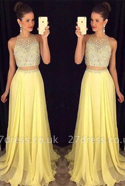 Luxury Beadings Sleeveless Prom Dress UK Long Chiffon Party Gowns AP0