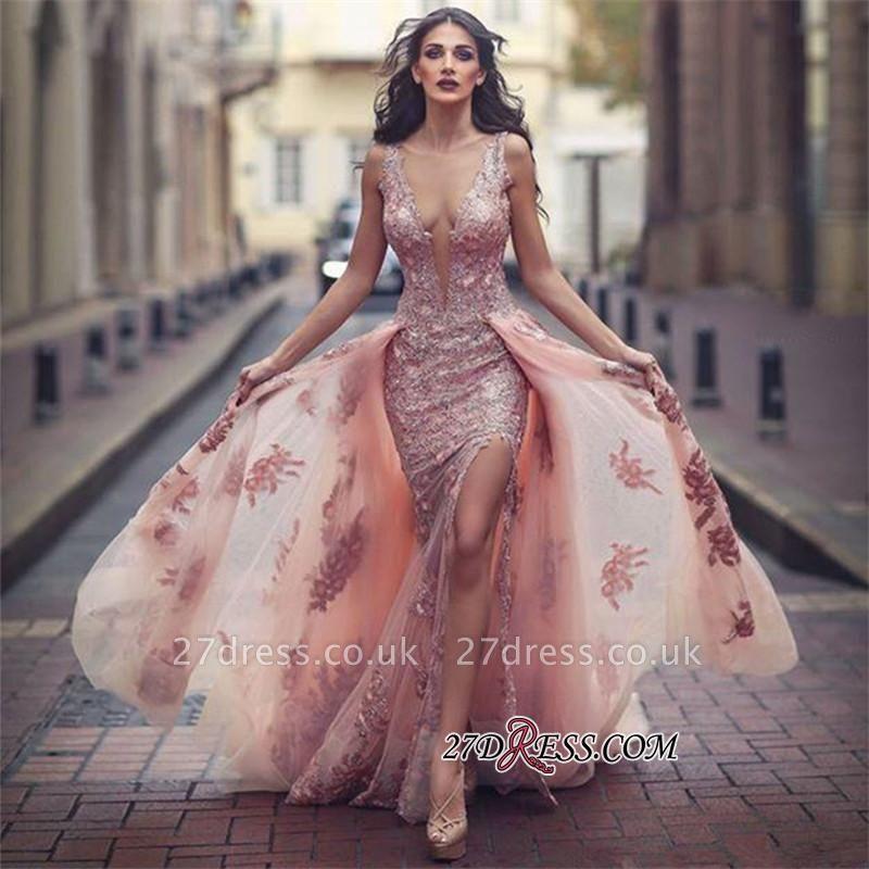 V-neck Slit Lace Amazing Front Tulle Pink Overskirt Appliques Evening Dress UK JJ0156
