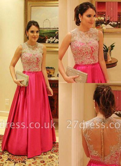 Bateau Sexy Lace Prom Dress UK A-line Aplliques Taffeta Womens Evening Gowns