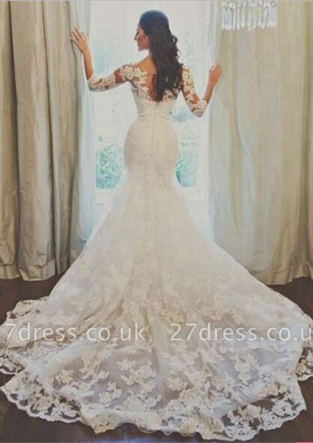 Elegant 3/4-long-sleeve Illusion Tulle Wedding Dress Lace Appliques 780I0