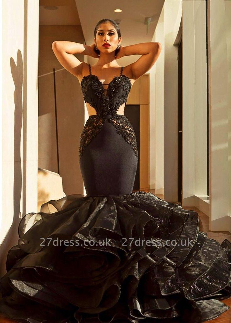 Elegant Black Evening Dress UK | Lace Mermaid Ruffles Prom Dress UK