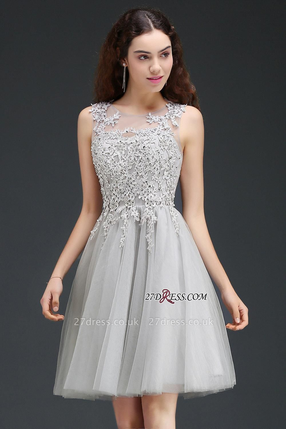 Silver Tulle Short A-Line Sleeveless Appliques Homecoming Dress UK