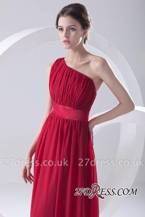 Floor-length Elegant Sleeveless A-line Red One-shoulder Bridesmaid Dress UK