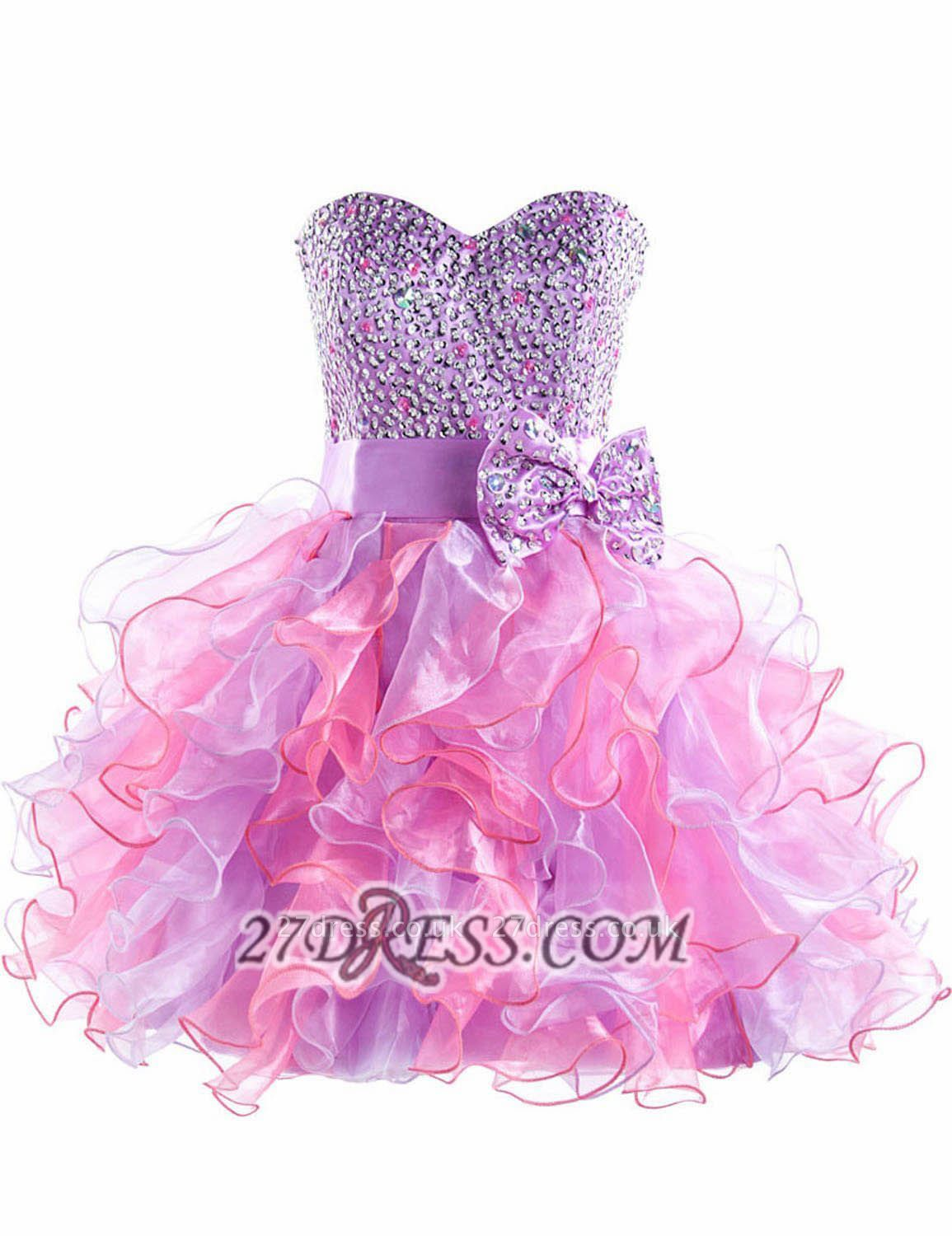 Gorgeous Sweetheart Sleeveless Ruffles Short Homecoming Dress UK Beadings Crystals Bowknot Lace-up Cocktail Gown