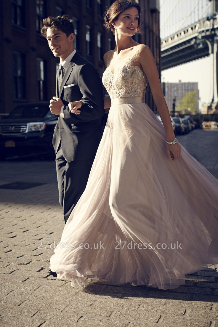 Simple A-Line Tulle Prom Dress UKes UK Appliques Floor Length Evening Dress UKes UK