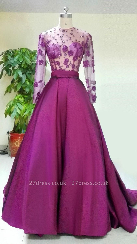Luxury Long Sleeve Evening Dress UK Appliques Beadings