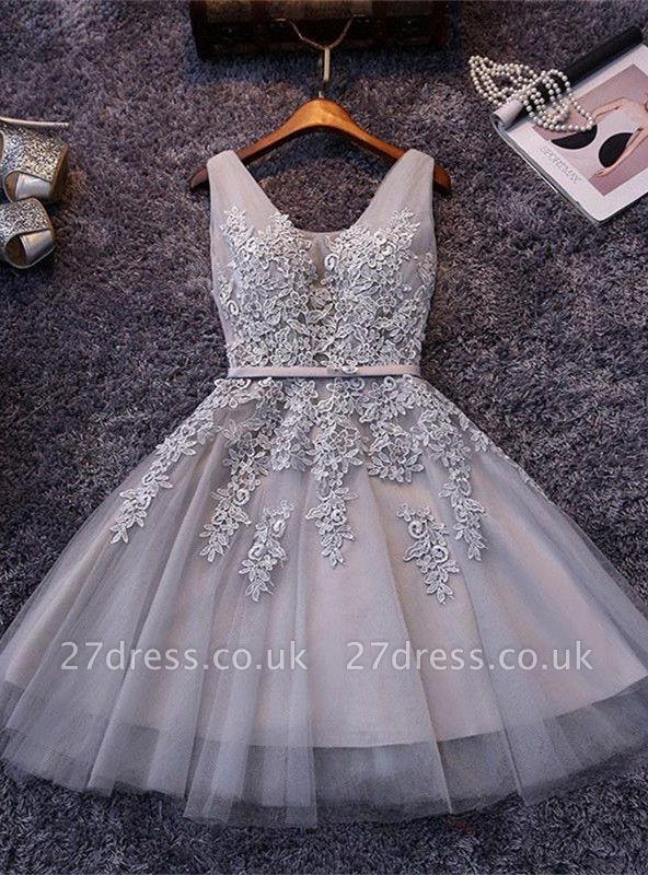 Beautiful Sleeveless lace-up Short homecoming Dress UK Lace Appliques Tulle BA3782
