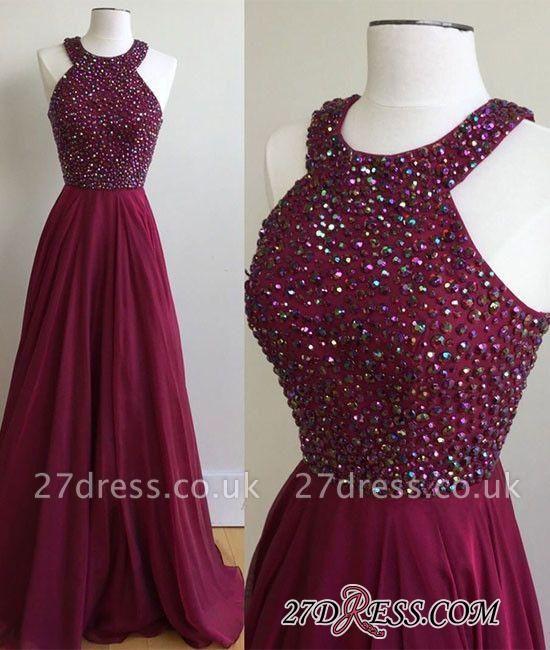 Newest A-Line Sleeveless Sweep-Train Crystal Prom Dress UK