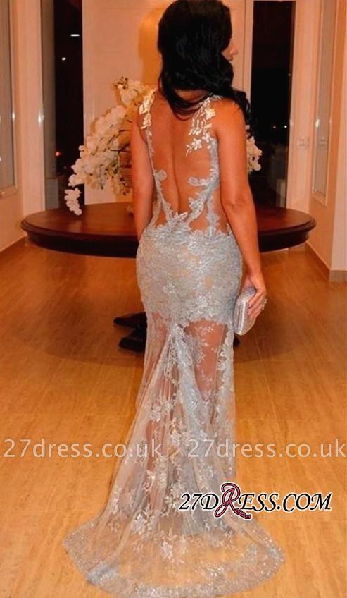 Appliques Straps Sheer-Tulle Sheath Sleeveless Elegant Lace Evening Dress UK