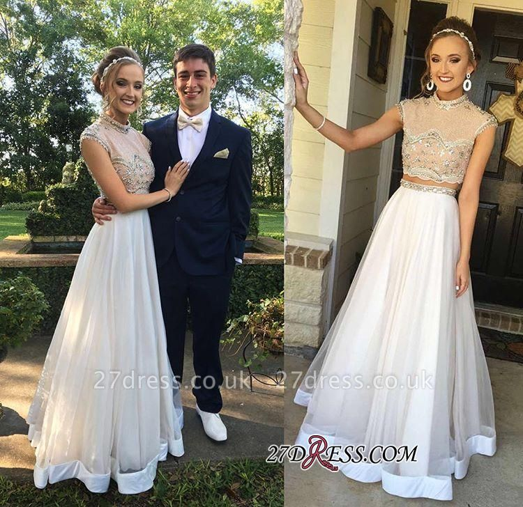 Two-Piece Cap-Sleeve Newest Crystal High-neck A-line Prom Dress UK BA7445