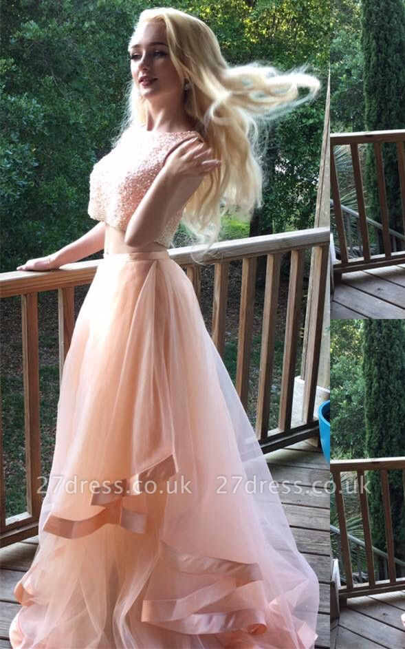 Luxury Two Pieces Beads Prom Dress UK Tulle Ruffles Romantic
