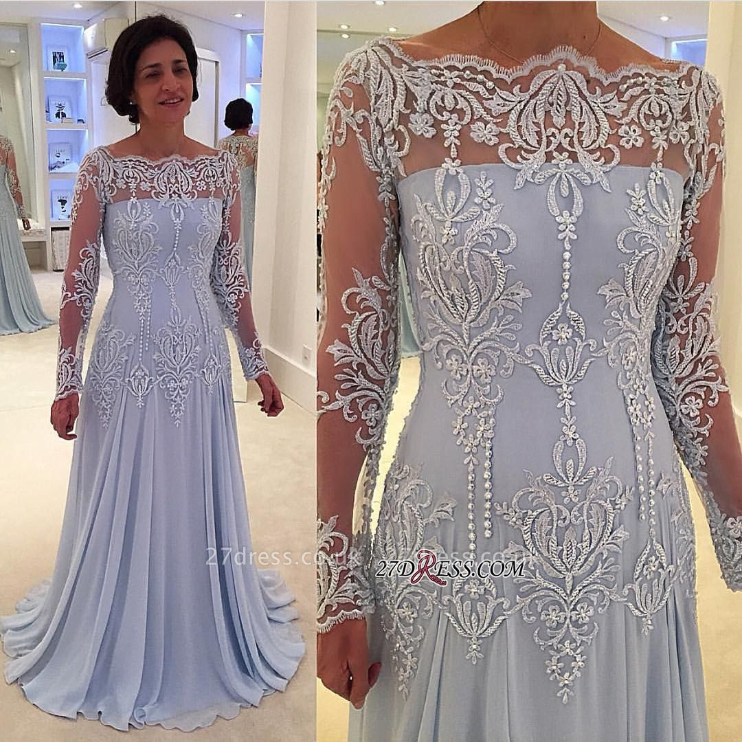 Long-Sleeve Lace A-line Sexy Mother-the-bride Dress UK