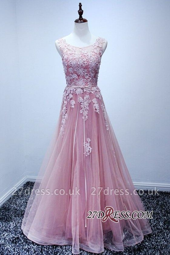 Lace Floor-Length A-Line Luxury High-Neck Pink Prom Dress UKes UK