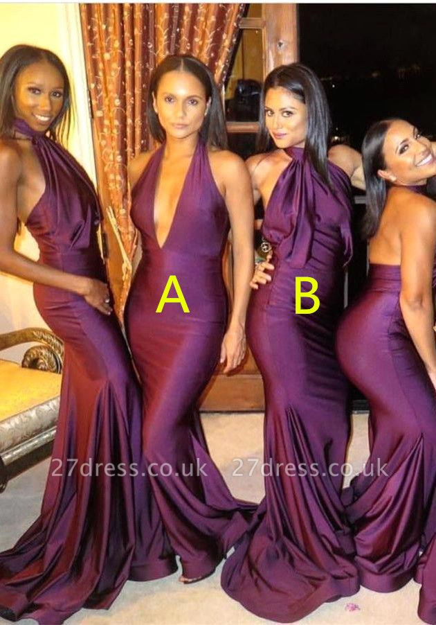 Sexy Bridesmaid Dress UK | Mermaid Backless Wedding Reception Bridesmaid Dress UK