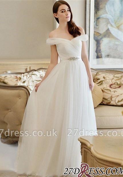 Crystal Off-the-shoulder Long Newest A-line Wedding Dress