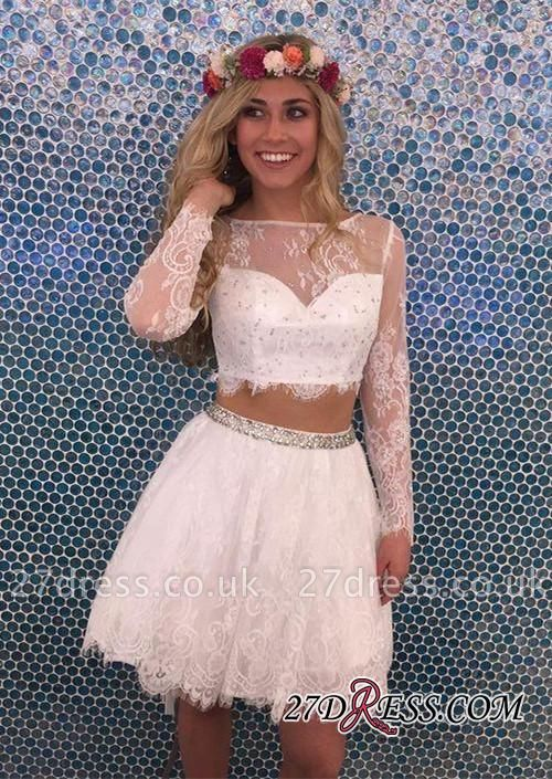 Lace Lovely Two-Pieces Lace Short Long-Sleeves Beadings Homecoming Dress UK