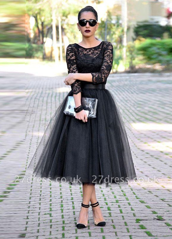 Elegant Black Lace 3/4 Sleeve Prom Dress UKes UK Tulle Tea-Length