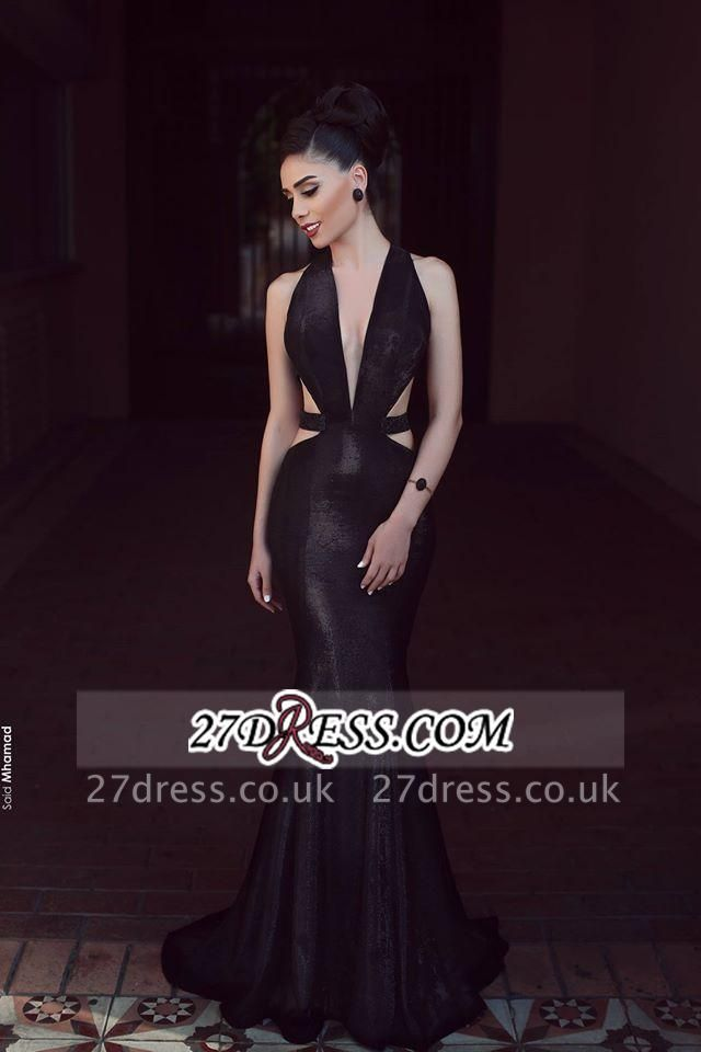 Sleeveless Black Elegant Mermaid V-Neck New Prom Dress UK
