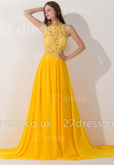 Elegant Chiffon Yellow Lace Appliques Evening Dress UK Front Split