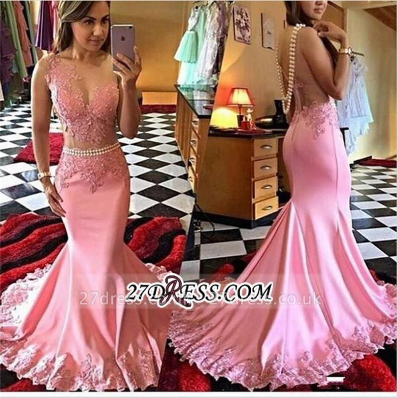 New Mermaid Appliques Sleeveless Elegant Crystal sheer Prom Dress UK