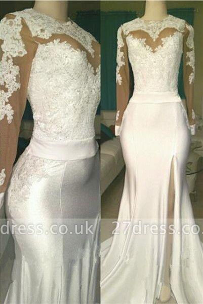 White lace long sleeve prom Dress UK, evening Dress UK with slit