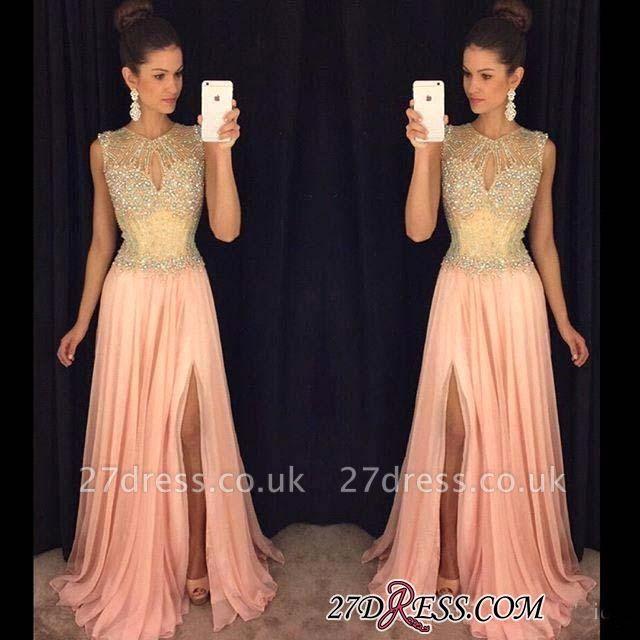 Beads Sleeveless Luxury Chiffon A-line Front-Split Prom Dress UK