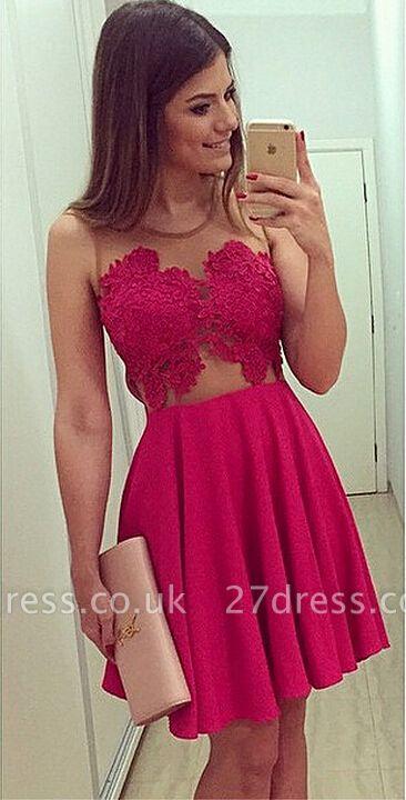 Elegant Sleeveless Short Chiffon Homecoming Dress UK With Lace Appliques BA1561