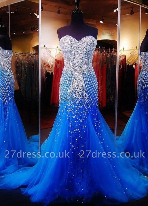 Luxurious Sweetheart Sleeveless Tulle Prom Dress UK With Beadings Crystals
