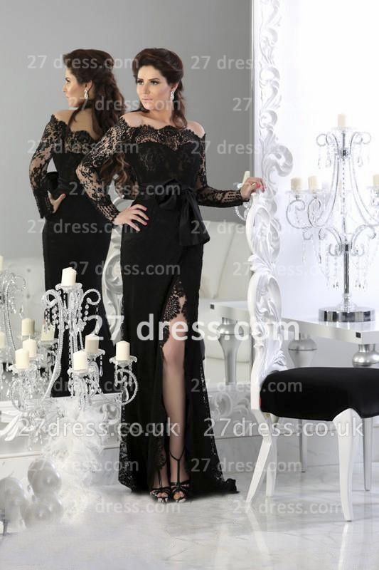 Black Elegant Lace Arabic Prom Dress UK Long Sleeve Sheath Split Evening Gowns