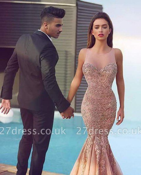 Luxurious Sleeveless Sequins Mermaid Evening Dress UK Tulle Lace Appliques MH100