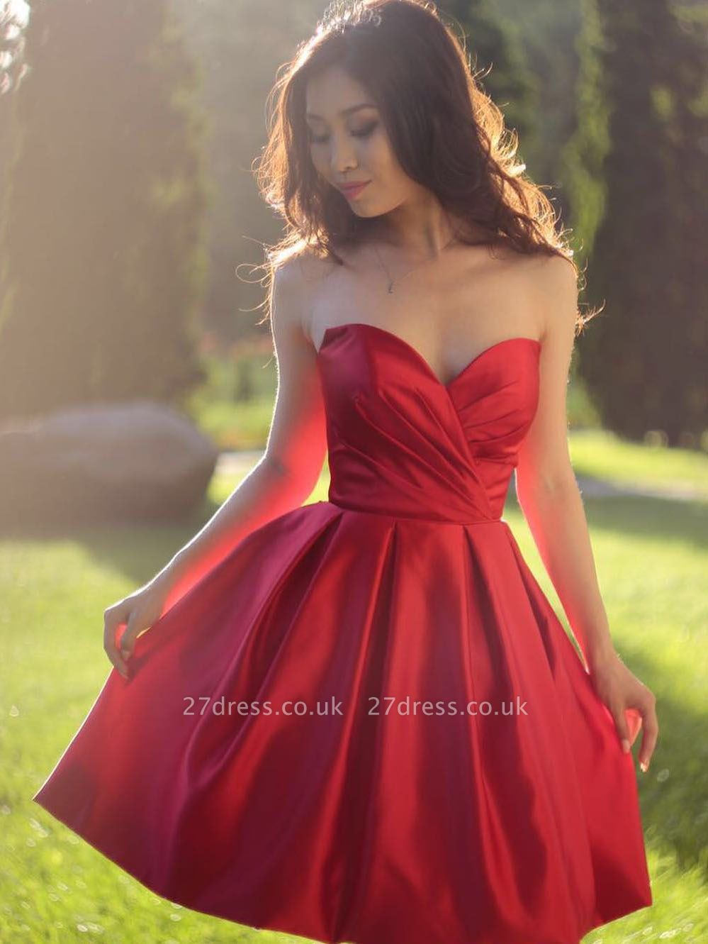 Simple Red Short Homecoming Dresses | Sweetheart Neck Puffy Cocktail Dresses