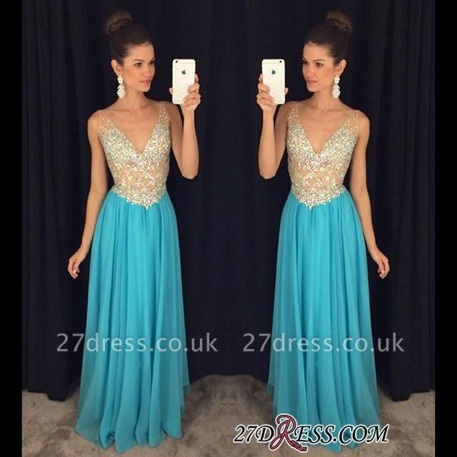 V-Neck Crystal Elegant Popular Ruffles Sleevelesss Prom Dress UKes UK AP0