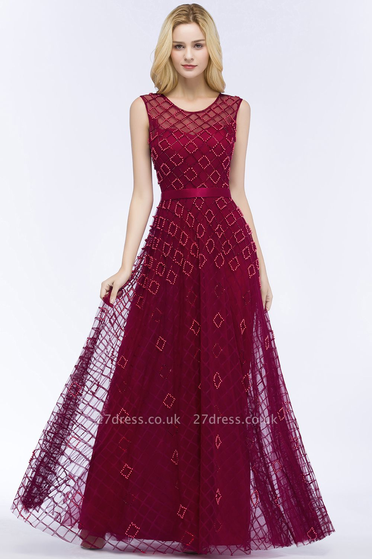 Elegant A-Line Evening Dresses | Scoop Sleeveless Beading Long Formal Dresses