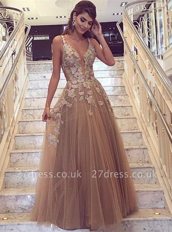 Luxury Sleeveless Evening Dress UK Tulle Long On Sale Lace Appliques