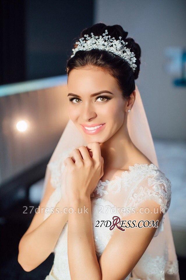 Ball-Gown Short-Sleeves Lace Chic Elegant Court-train Scoop Neckline Wedding Dress