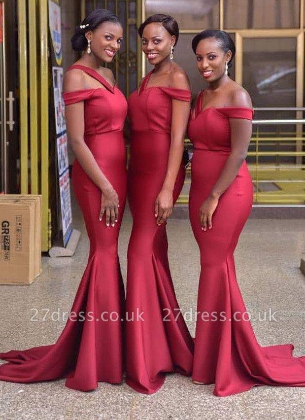 Luxury Off-the-Shoulder Red Bridesmaid Dress UK | 2019 Mermaid Long Maid of Honor Dress UK