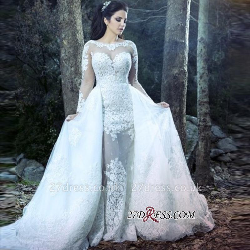 Sheath Lace Overskirt Amazing Sheer-Tulle Long-Sleeve Wedding Dresses UK