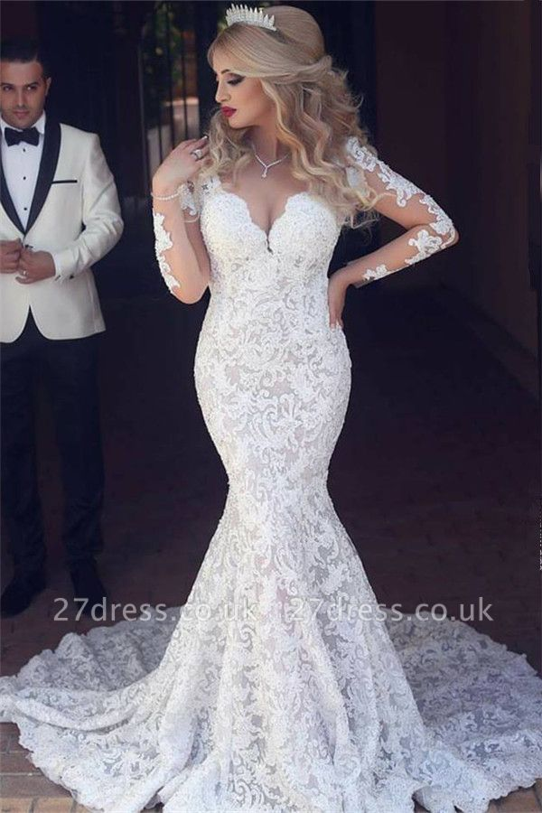 Long Sleeve  Sexy Mermaid Lace Wedding Dress Open Back V-neck Classic Bridal Gown