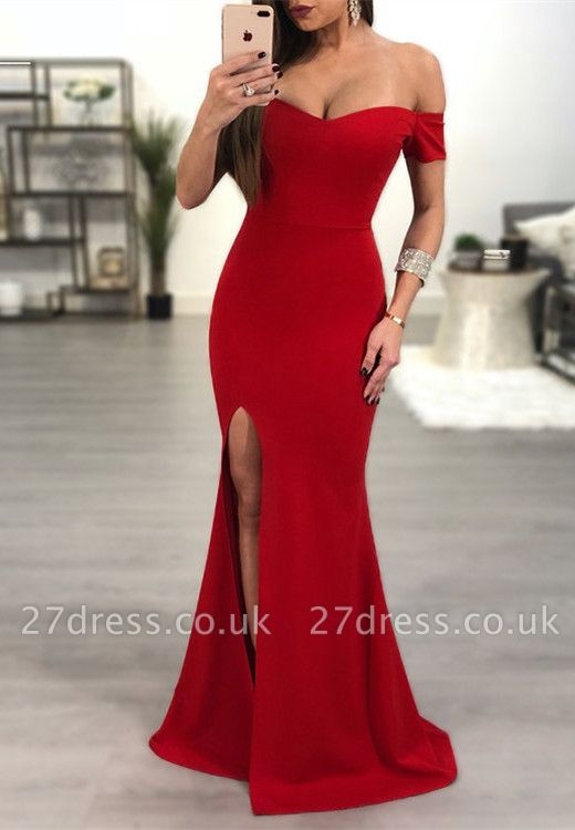 Sexy Red Off-the-Shoulder Prom Dress UK   Mermaid Sweetheart Evening Gowns