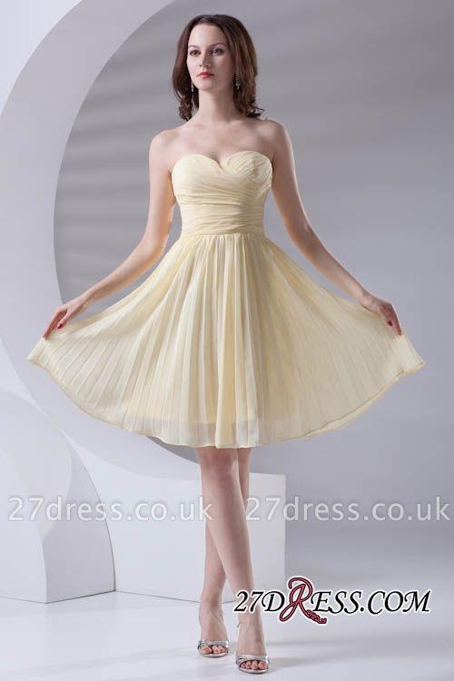 Short A-line Sleeveless Ruffles Sweetheart Newest Bridesmaid Dress UK