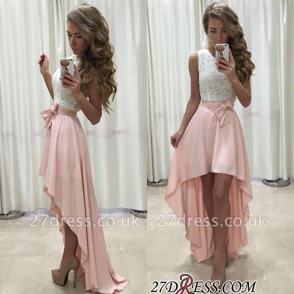 Sleeveless Lace Chiffon Straps A-line Hi-Lo Newest Prom Dress UK BA5241