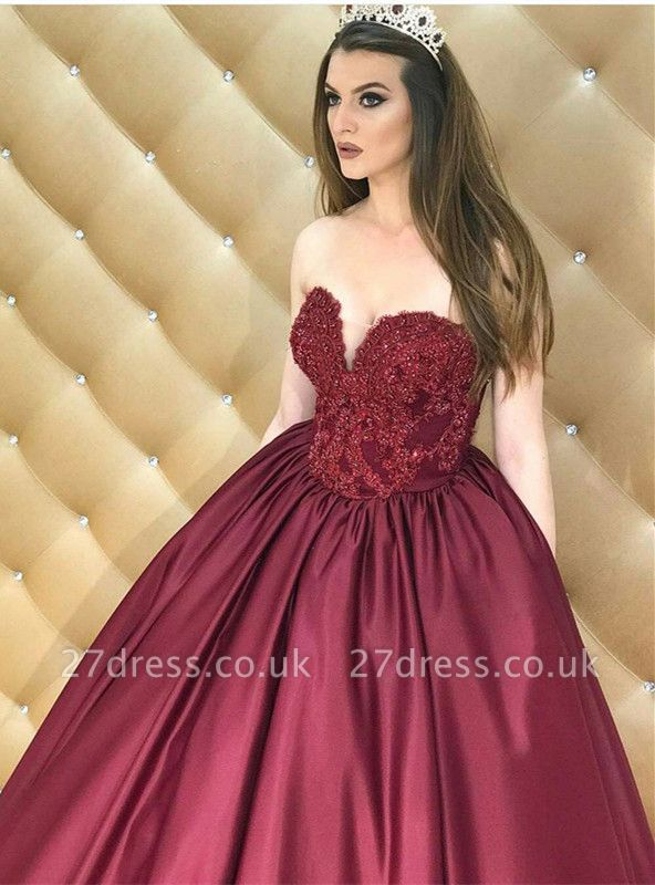 Sexy Sweetheart Lace Appliques Prom Dress UK Burgundy Evening Dress UK On Sale